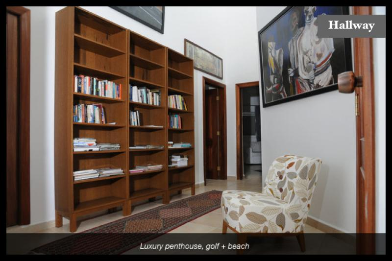 The hall way connecting the bedrooms equipped with  books in different languages