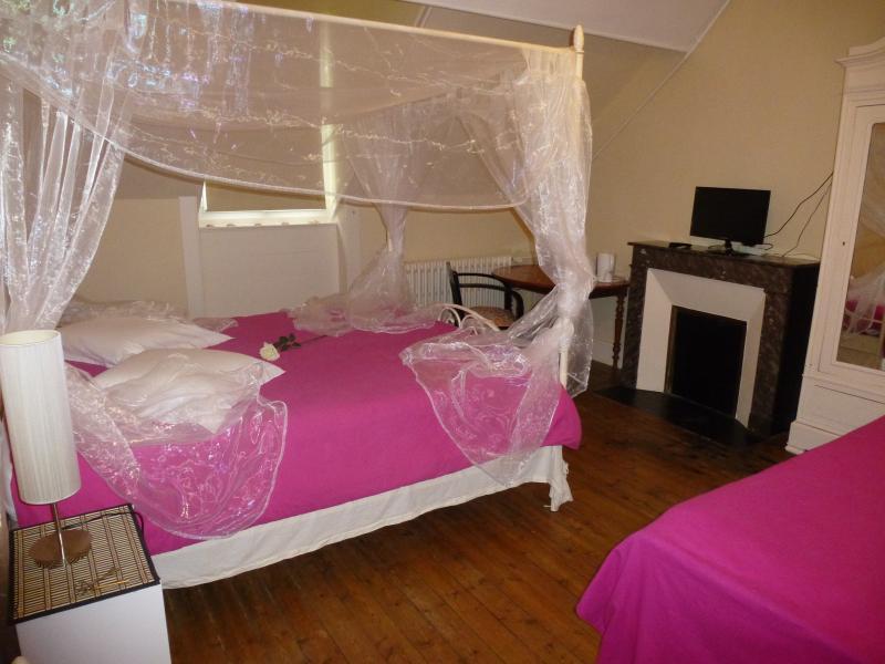 Voici la première chambre avec lit à baldaquin, télévision, armoire et Wifi