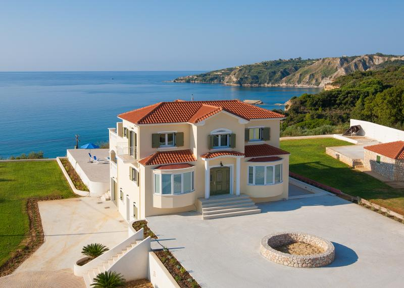 Aerial view of front of Villa and Mediterranean Sea