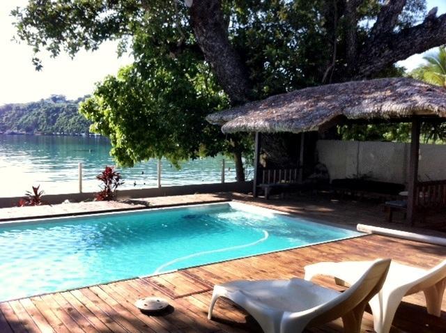 Swimming pool overlooking Port Vila Harbour