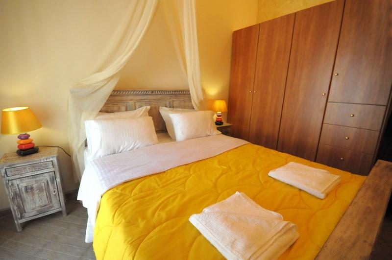 the yellow master bedroom