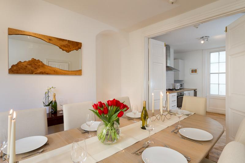 Dining room with option to open to chat to friends in the kitchen