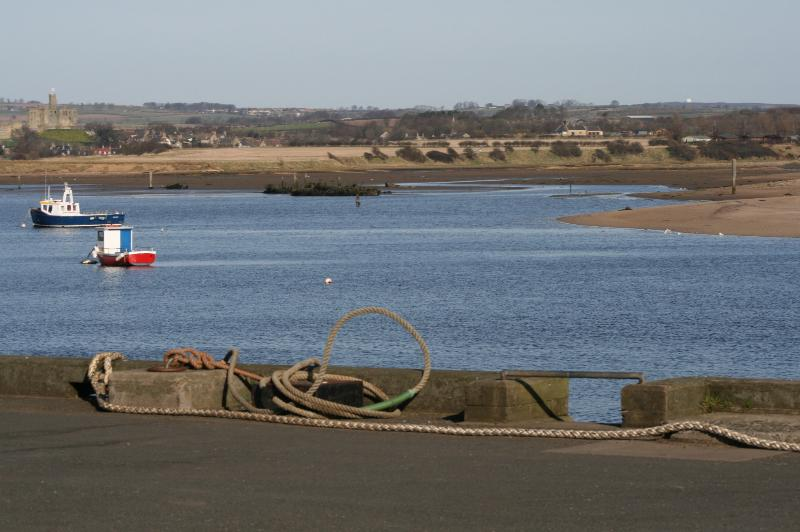 A View from Amble harbour, which still a working harbour with trawlers and potting boats