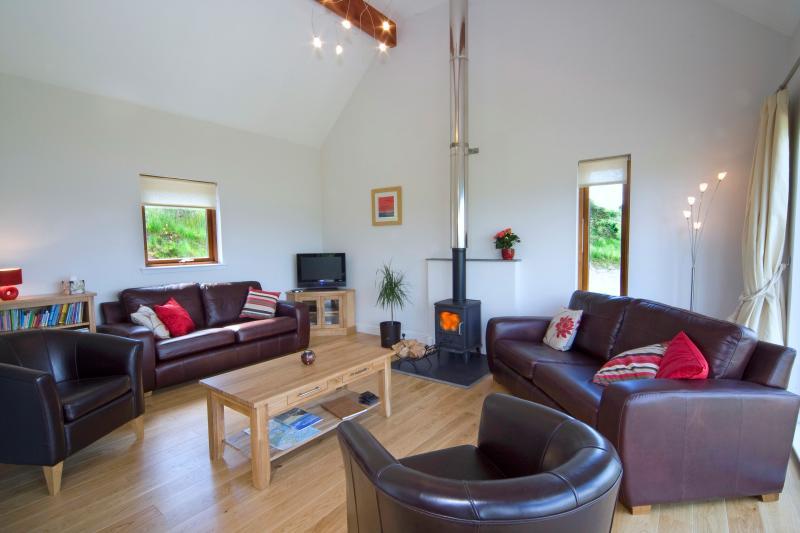 Sala de estar com aconchegante fogão a lenha.