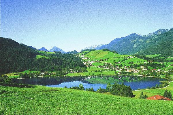 Thiersee in Tirol, a lake in a valley looks like nature paradies