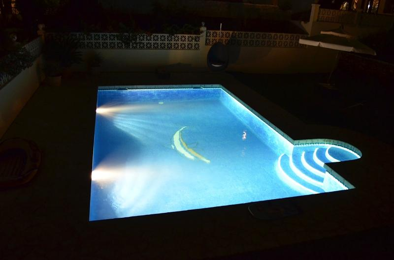 OUR STUNNING SWIMMING POOL AT NIGHT!