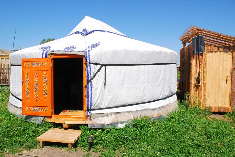 mongolian yurt - private toilet beside