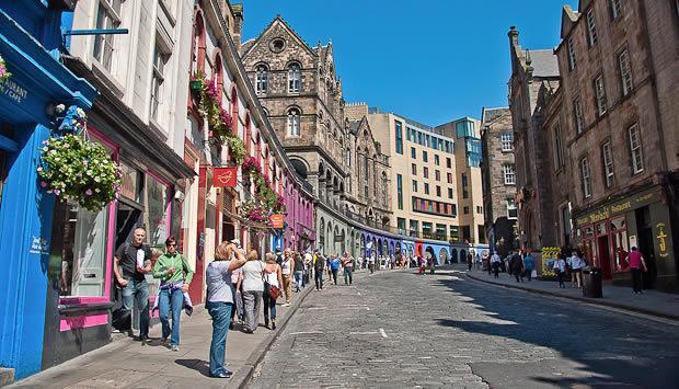 Victoria Street leading from Grassmarket with abundance of restaurants