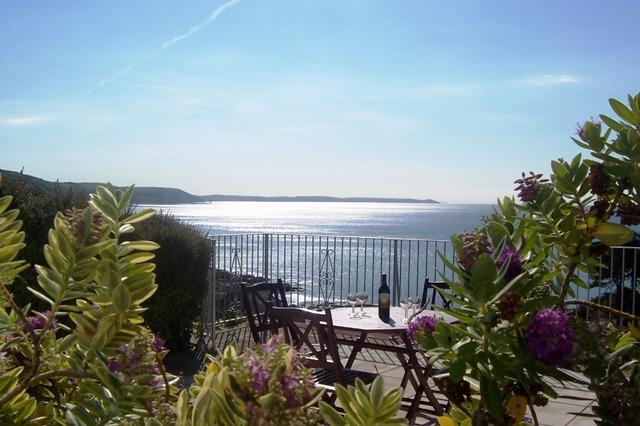 Patio area for your exclusive use - south facing and stunning sea views