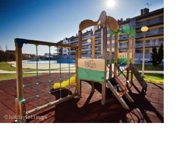 Secured gated play area for children.