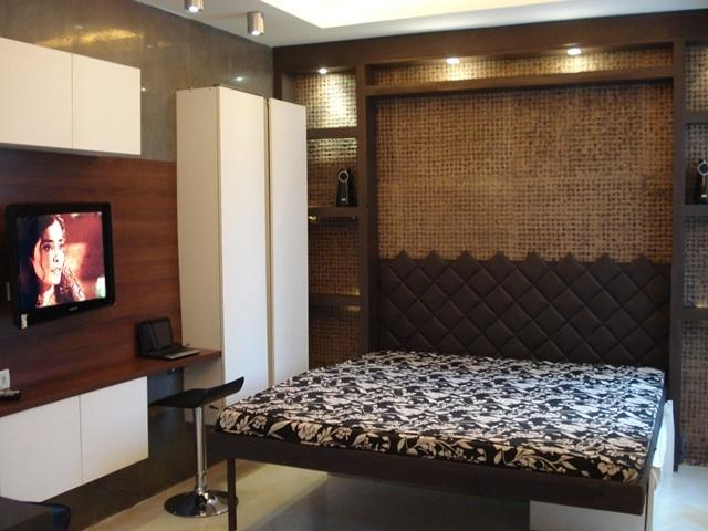 King Size Bed, Cabinets -  Led TV and Sound System on the back top