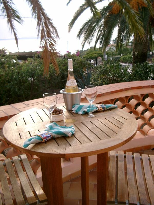Lovely view from the teak bar table on your balcony.  Shaded by a mature palm.