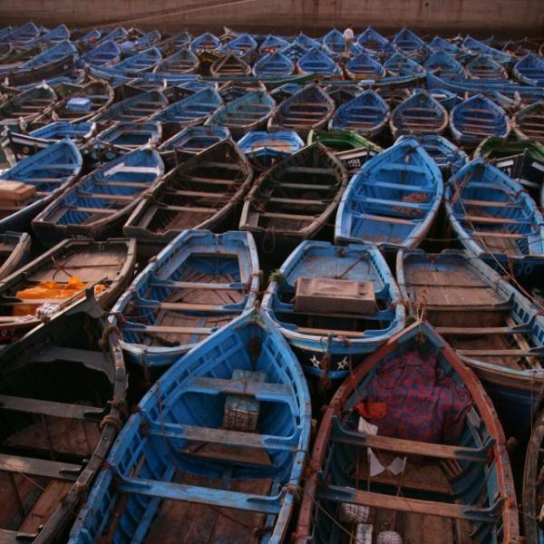 Essaouira port fishing boats