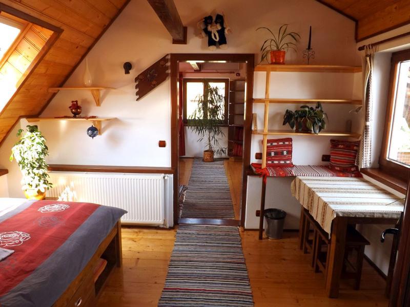 Casa Pelu, view from the 2. room through the attic (Casa Vale, Sibiu, Transylvania, Romania)