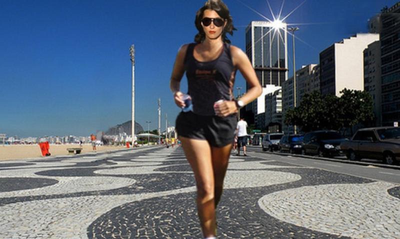 Jogging in Copacabana beach. the studio is just two blocks from Copacabana beach!