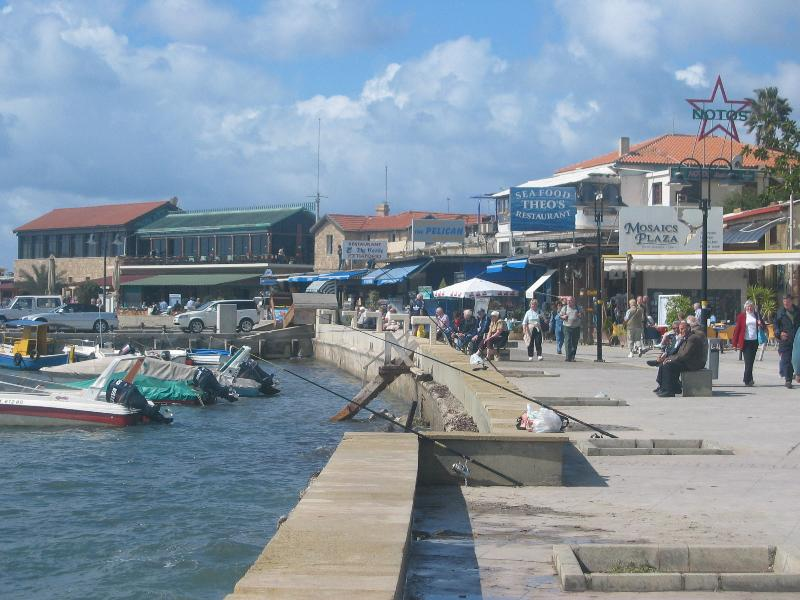 Paphos Harbour with many seafood restaurants. Easy 10/15 min drive from the apartment.
