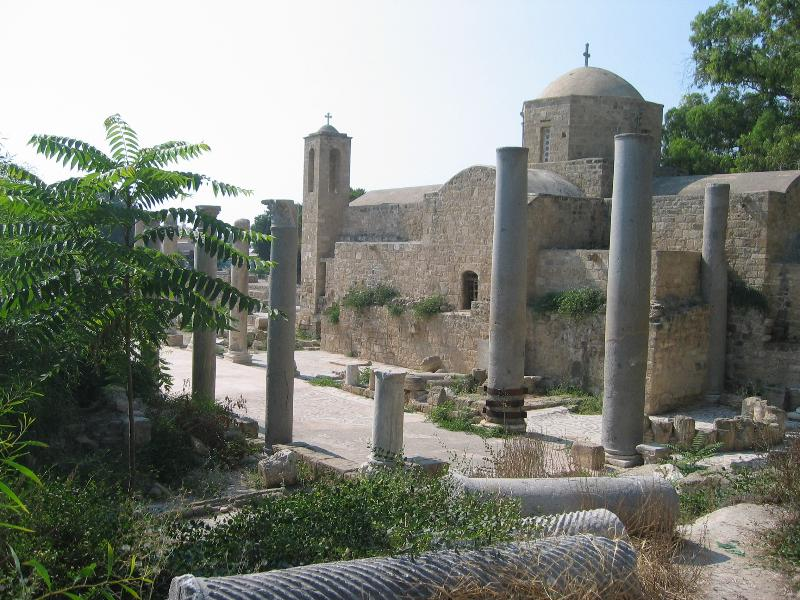St.Paul's Pillar. Archaeological site in Paphos. Small church jointly used by Anglicans & C