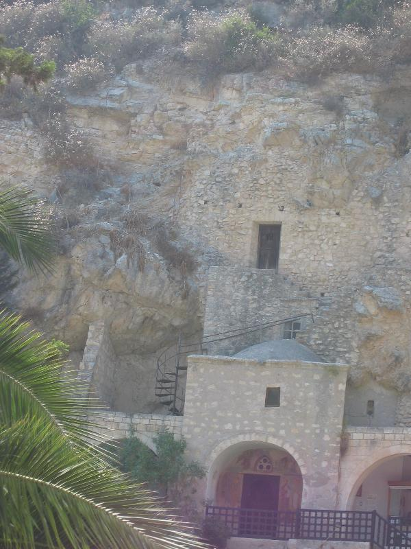 St.Neophytos Shrine. You climb up to the entrance. Ancient murals inside the hermits cave.