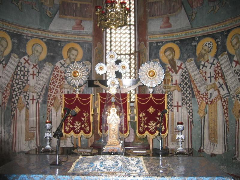 Interior of the beautifully decorated orthodox St.Neophytos' church. Monastery has a small muse