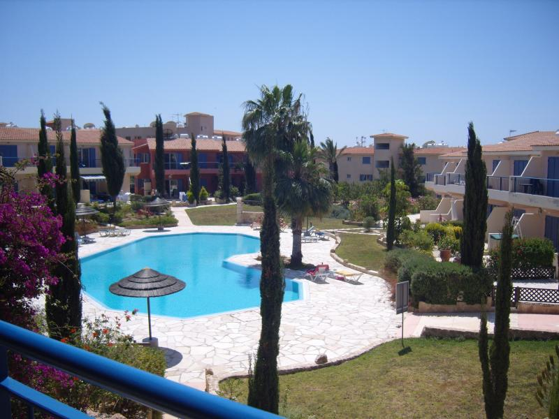 View of Pool from Apartment Balcony. Well maintained communal Pool. Adequate loungers.