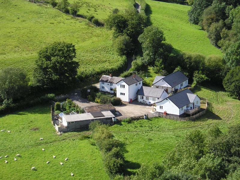 Aerial view of Madog's Wells and the 3 cottages