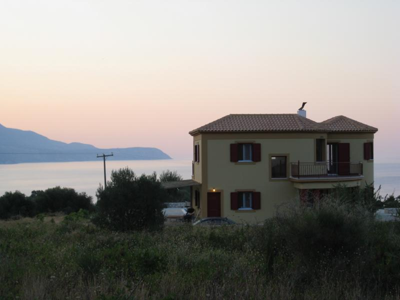 Dawn view of the villa and the bay