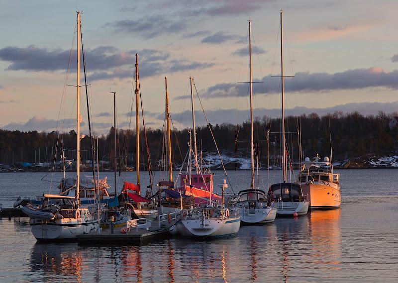 Hundreds of boats docking at Tjuvholmen.