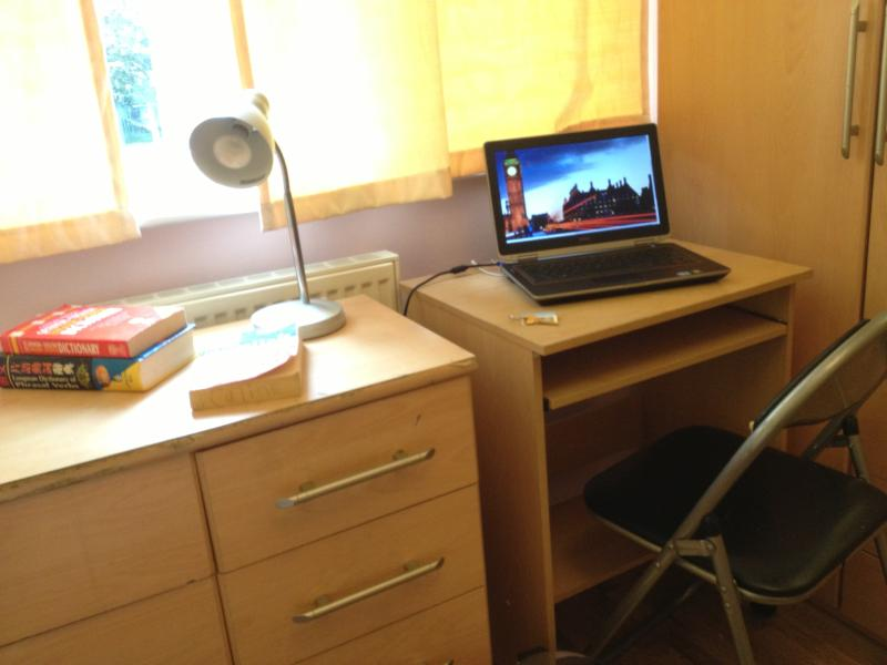 Our study desk and lamp, in the student room.
