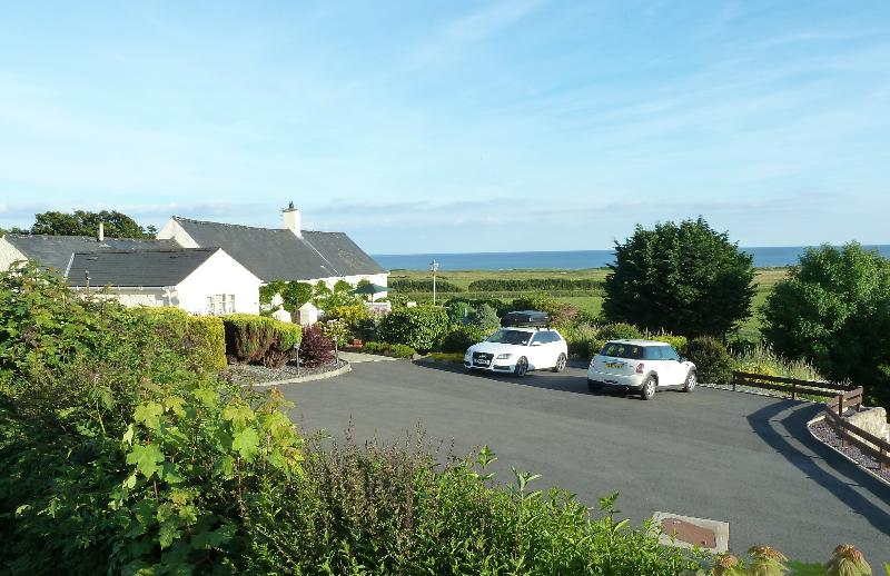 Gorwel entrance, overlooking the sea, from large private car park