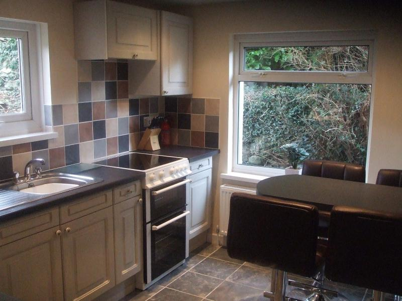 Gwelfor kitchen with breakfast bar