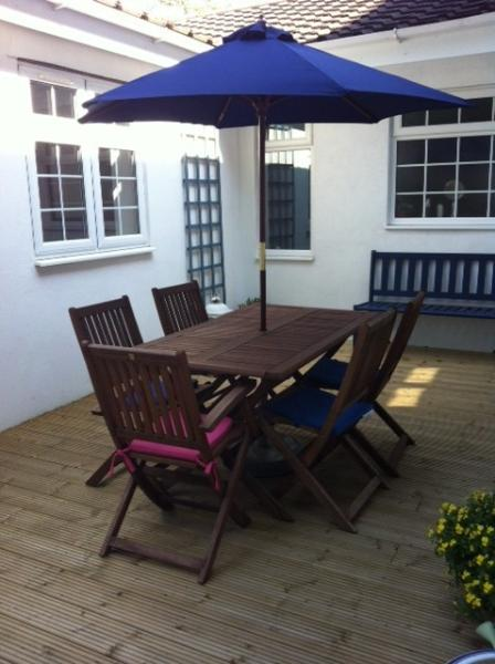 Secluded deck ,BBQ,dining area and Sun spot.