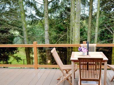 The patio with the view through the trees.