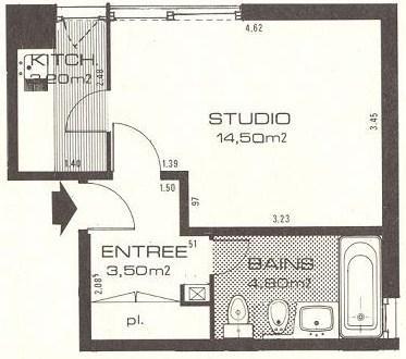 Plan du studio L'ancienne salle de bain