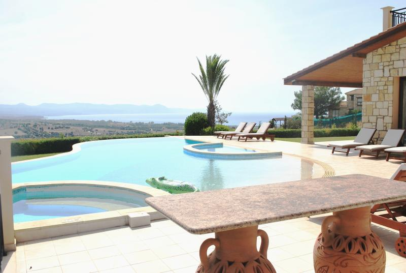 The amazing large pool of the villa with the childrens pool and jacuzzi