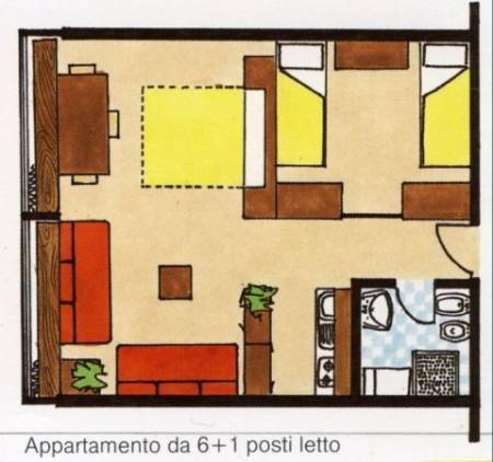 Layout of the apartment, the two large Windows show the valley below