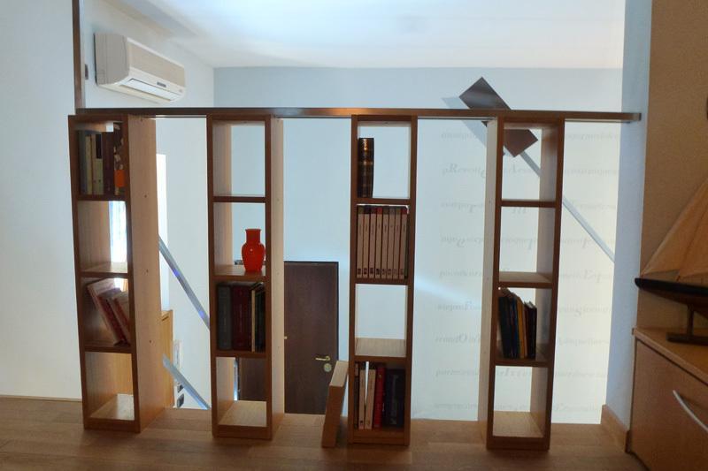 Bookshelves up on the mezzanine