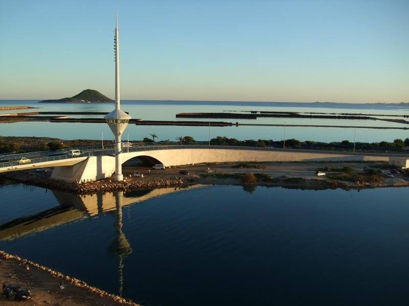 One of the excellent views from the balcony showing the Estacio bridge on the entrance to the Marina