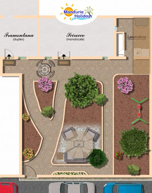 Pianta del giardino - Manduria Holidays
