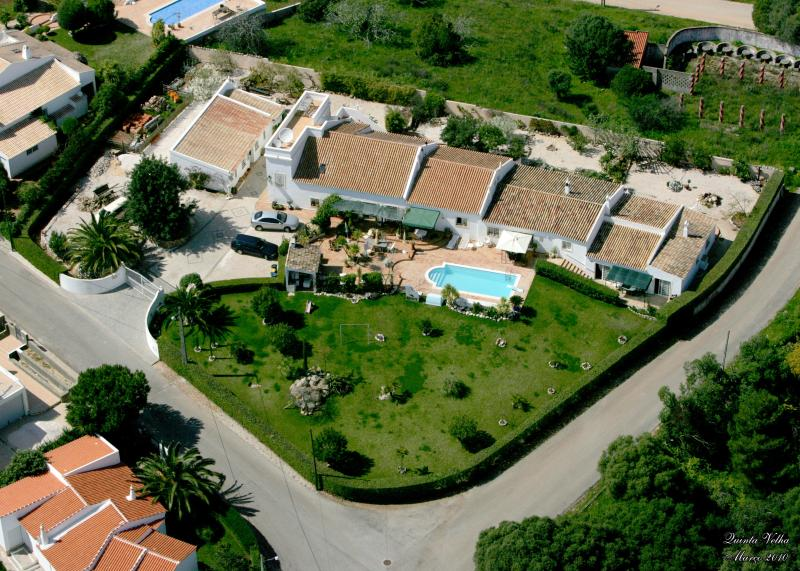 Aerial view of Quinta Velha - Jacaranda is the 3rd roof to the right of rectangular water tower