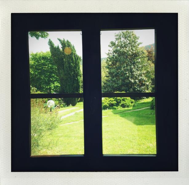 Veduta del giardino dall'interno di Casa La Ghianda