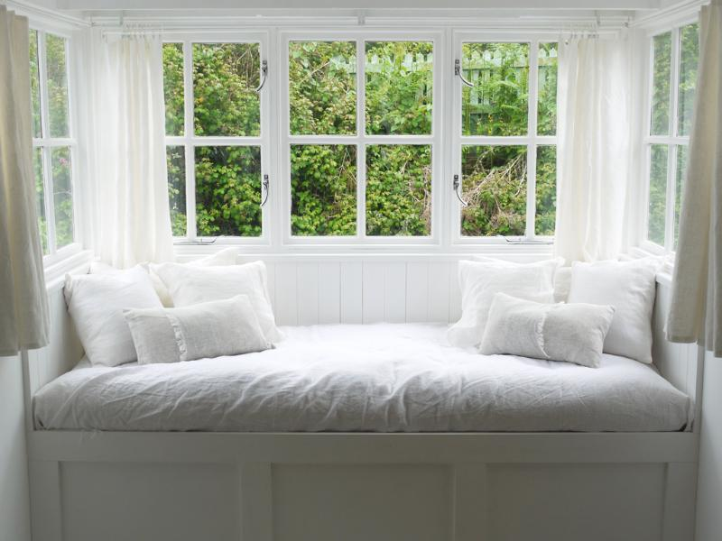 Gorgeous window seat to while away the afternoon or count the stars at night.