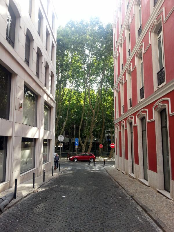 The street of the apartment. At the end, 'Avenida da Liberdade' (main avenue is Lisbon)