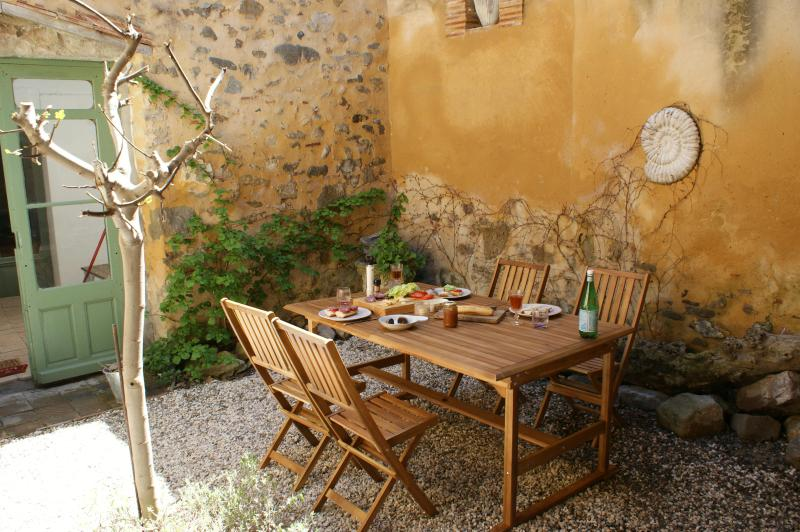 Enjoy a long lunch or dinner in the private courtyard