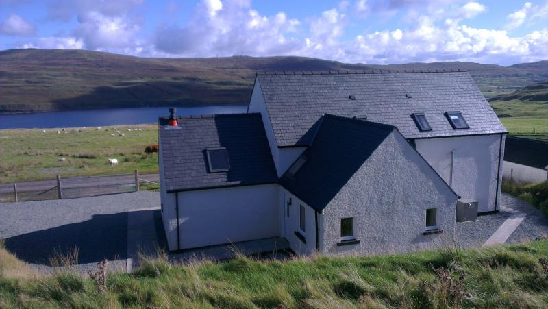 Rear of the cottage showing spectacular views