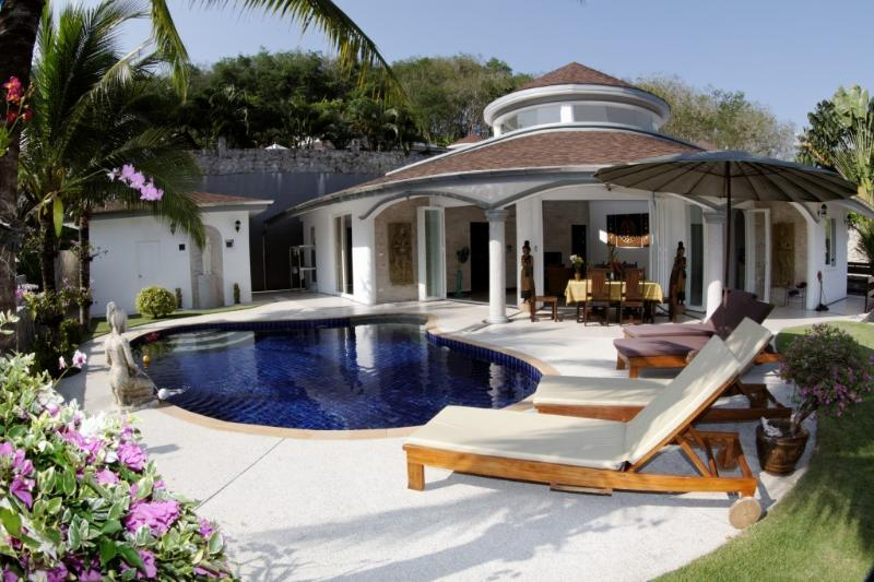 Front view of the villa showing your private pool.