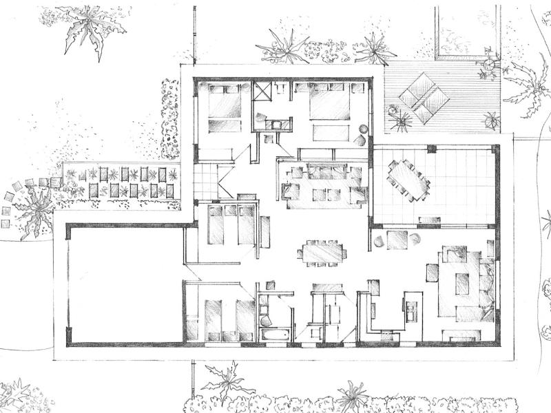 Floor plan of Orchid Hill. So much room on a 1000 mtr block surrounded by lush tropical gardens.