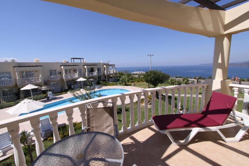 Apartment Balcony with Pools below and uninterupted Sea Views and spectacular Sunsets in evenings