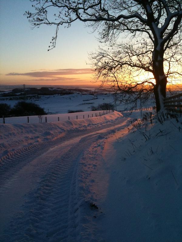 Tak Ma Doon Road from Brockieside in Winter.