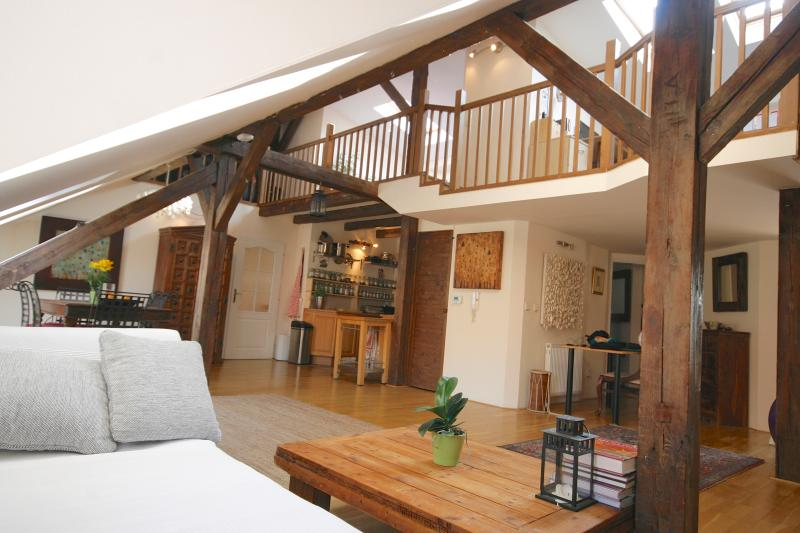 Huge open plan living and mezzanine level