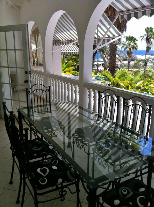 The spacious porch with a stunning view to the Caribbean sea